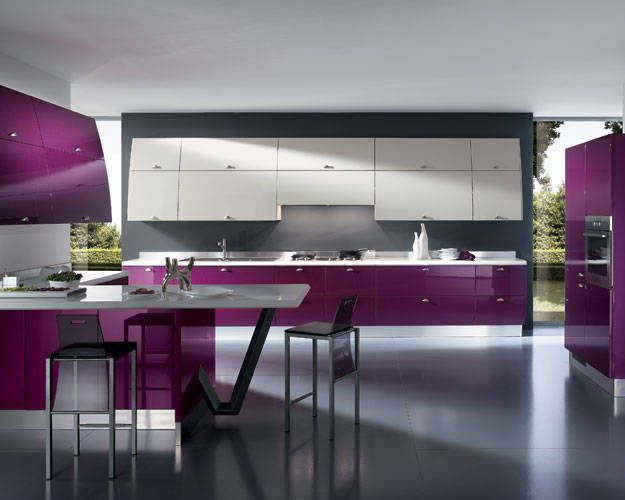 Exceptional Modern Color Schemes That Include Purple Tones Are Stylish Kitchen Design  Trends For Creating Unique And Elegant Modern Kitchens. Ideas