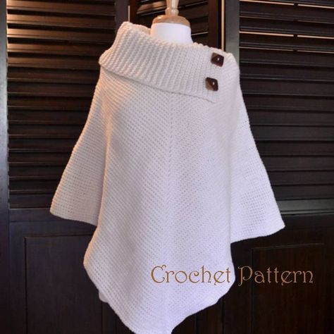 Crochet Poncho Pattern Cowl Neck Poncho Womens by CharacterCrochet
