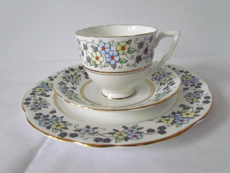 Gladstone Teacup Saucer Dessert Plate Trio Set Blue Chintz Floral Bands England #Gladstone