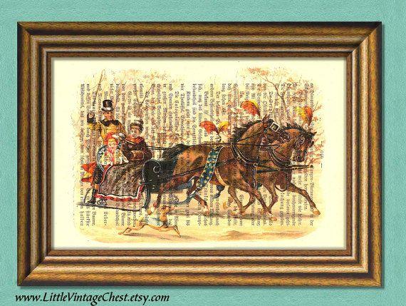 WINTER STROLL  Dictionary Art Print  Wall by littlevintagechest, $7.99