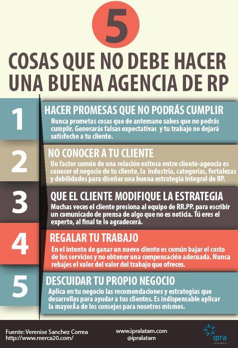 Cinco cosas que no debe hacer una buena agencia de Relaciones Públicas. #PR #RRPP