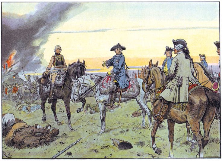 Frederick the Great compliments General von Seydlitz at the battle of Zorndorf