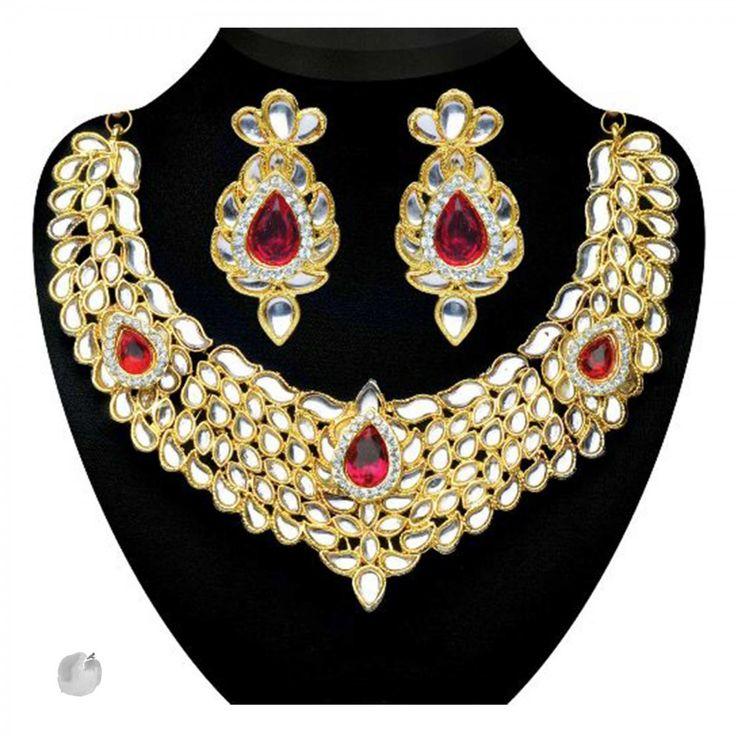 Kundan Pink Austrian Stone Gold Finish Necklace Sets