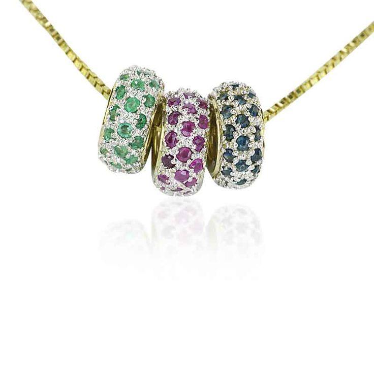 Edelstein #Beads Anhänger 0,479ct Rubin,0,34ct Smaragd, 0,522ct Saphir in 14ct Gelbgold an Kette  #Schmuck #Schmuckboerse #vintage