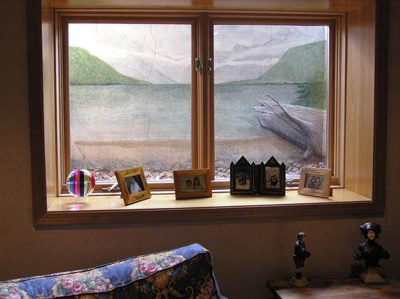 Mural painted in basement window well basement ideas for Window well ideas