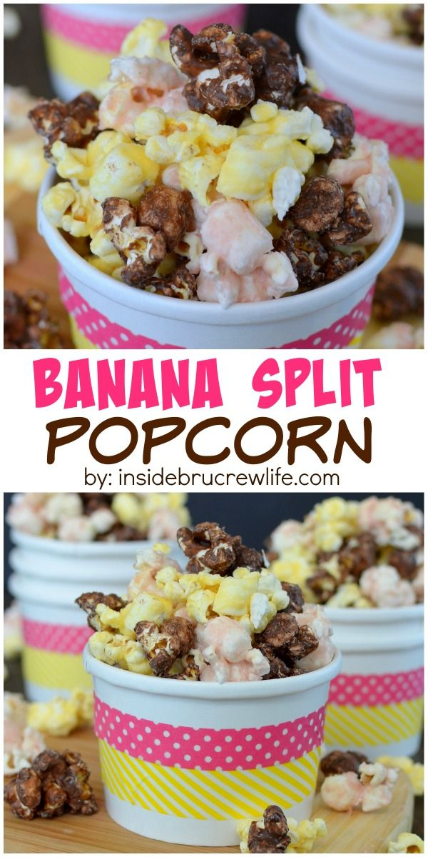 Chocolate, strawberry, and banana chocolate coatings make this popcorn a really fun snack mix!