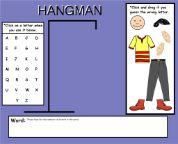 """Hangman Game for Smartboard  I think there should be a few more """"parts"""" to allow for a few more mistakes."""