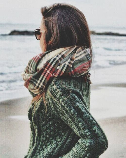 plaid infinity scarf and an army green cable knit sweater -- fall staples