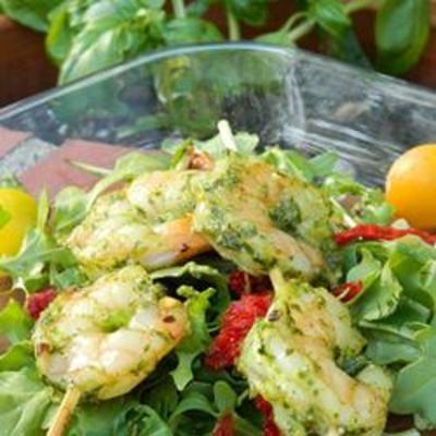 Feta Pesto: Basil Leaves, Shrimp Salad, Feta Pesto, Grateful Parmesan Cheese, Pesto Shrimp, Pesto Recipes, Artichokes Heart, Food And Drinks, Food Processor