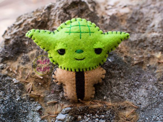 Felt Yoda  Pocket Plush toy by nuffnufftoys on Etsy