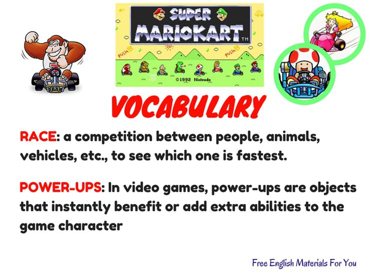VOCABULARY LIST - episode 6 - English4Gamers - Free English Materials For You - Super Mario Kart