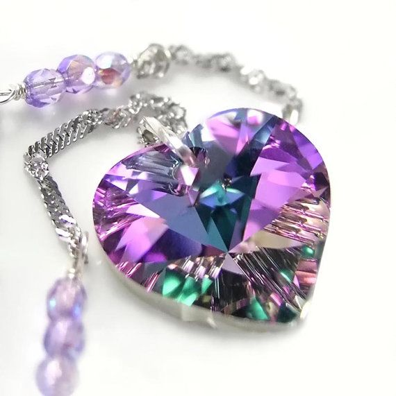 Purple Pink Heart Necklace Sterling Silver Chain by DorotaJewelry, $36.00