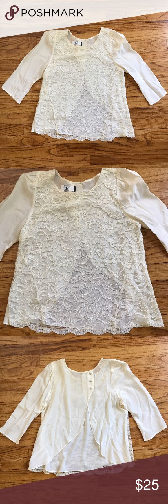 Lace Blouse Open back lace top • worn once • new condition • floral lace pattern • off white color • has an extra layer but still need to wear tank top underneath or bralette ⚡️ fast shipping Dolce Vita Tops Blouses