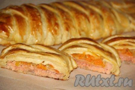 Рецепт пирога с рыбой из слоеного теста