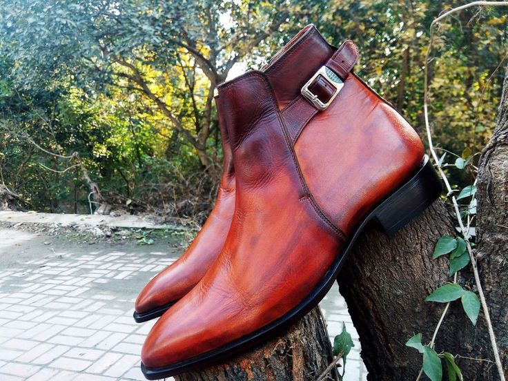 Hand Panted Men Brown Chelsea Boots, Men Ankle High Formal Dress Denim Boots New #Handmade #AnkleBoots
