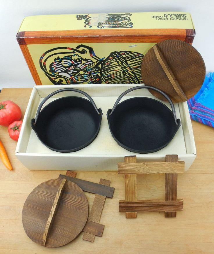 Vtg Ishigaki Irori Nabe Boxed Set - 2 Japanese Cast Iron Pots Pans wt Wood Lid | Collectibles, Kitchen & Home, Kitchenware | eBay!