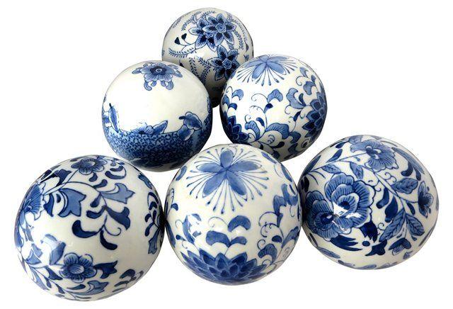 Chinese Blue & White Ceramic Orbs, S/6