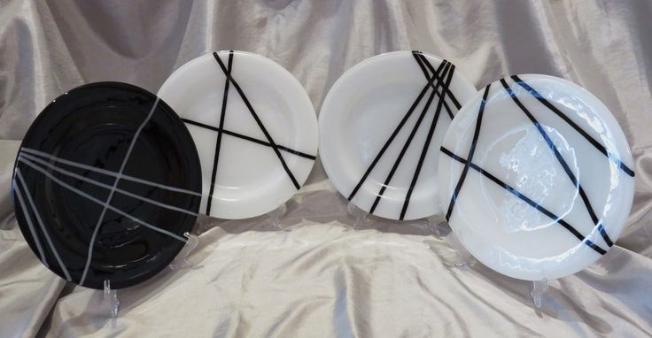 Fused glass plates, black and white plates, art glass plates, set of glass…