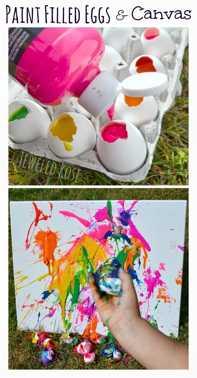 Fill eggs with paint and toss them at canvas.  SO FUN and filling the eggs is so easy!