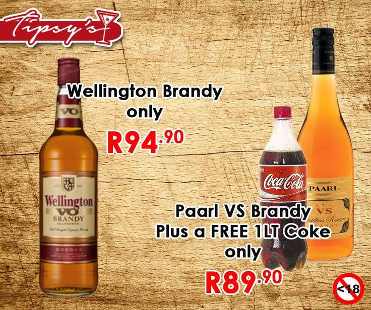 #WellingtonVO brandy for only R94.90 and #PaarlVS brandy for only R89.90, from #TipsysLiquorBoutique. Alcohol not for sale to persons under the age of 18, please drink responsibly, do not drink and drive, T's & C's Apply, while stocks last, E & O.https://www.facebook.com/792063187523700/photos/pb.792063187523700.-2207520000.1435564557./918943344835683/?type=3