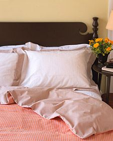 "DIY duvet comforter: Use two flat sheets, right sides together, sew around edges with 1/2"" seam allowance, leave 2 ft opening a foot side, turn right side out. seal with buttons, velcro, fabric ties. don't forget to seal your seams on the inside if you want to wash it. how easy is that!"