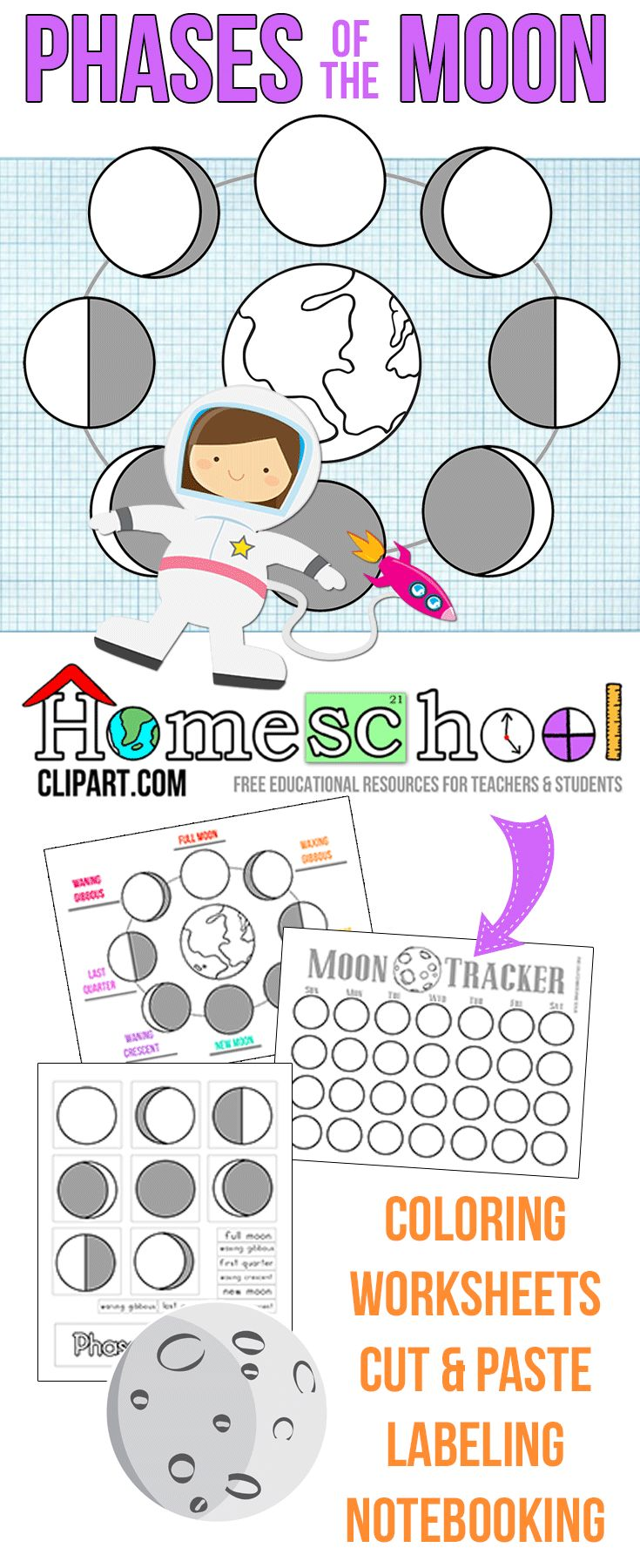 Free Phases of the Moon Activity Pages. Moon Tracker, Labeling, Coloring, Cut and Paste and more!