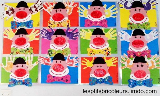 clowns empreintes de mains