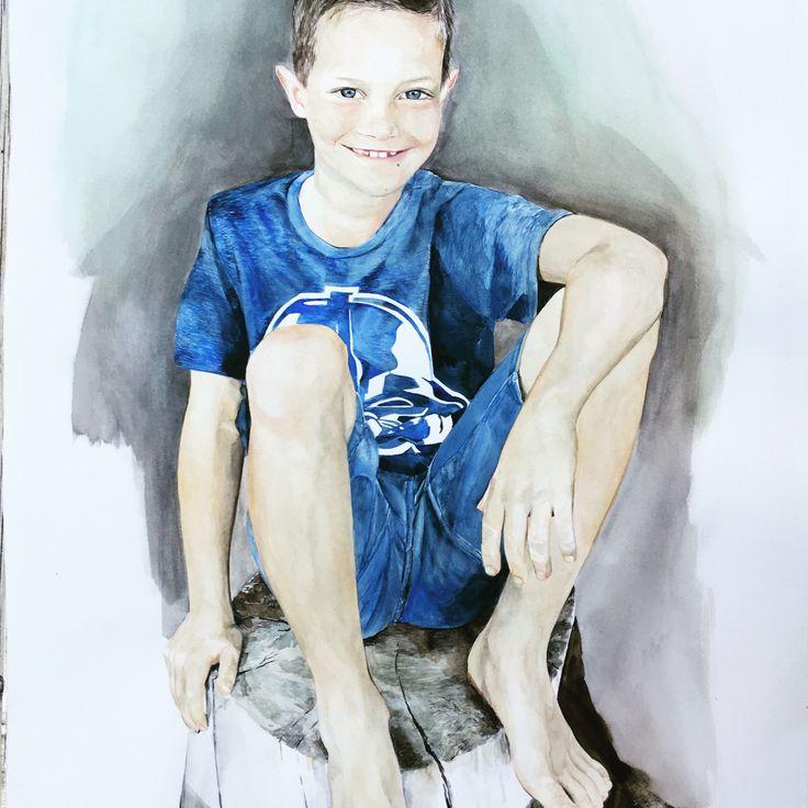Karin Dando portrait of Nick watercolour on paper 105x75 cm 2017