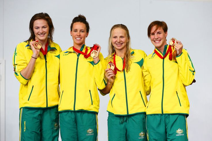 (L-R) Cate Campbell, Emma McKeon, Melanie Schlanger and Bronte Campbell of Australia