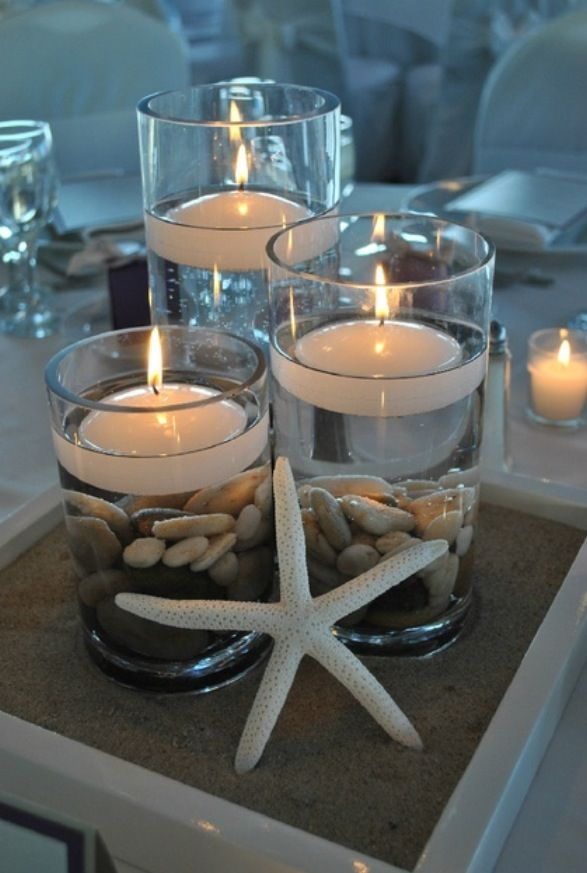 diy beach theme wedding centerpieces%0A DIY beachthemed wedding centerpiece  Glass vessels  floating candles   river rocks  a little sand and starfish