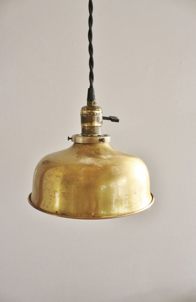 Antique Brass Pendant Light Fixture 75 00 Via Etsy