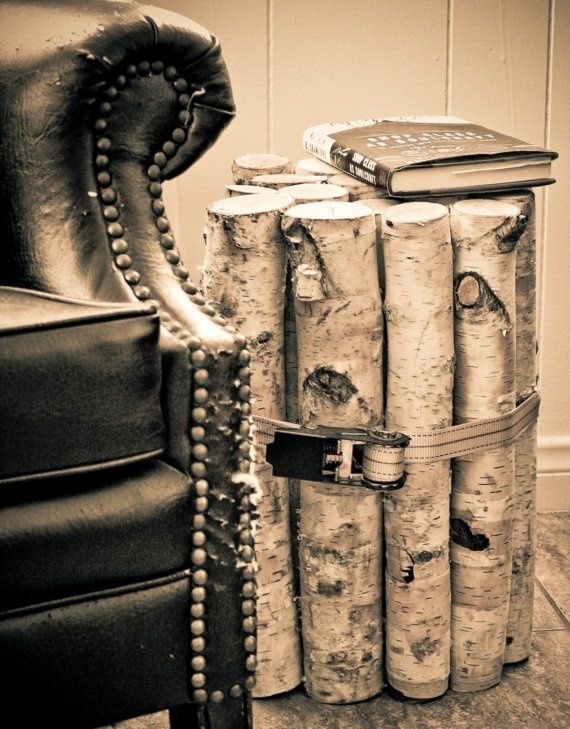 Three great decorating ideas on a budget-not so excited about the belt around the logs. I think rope or a leather belt would be better.