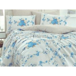 Hobby Home Gloria albastru - Lenjerie de pat din bumbac ranforce 2 persoane