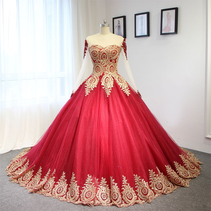 2017 Luxury Wine Red With Golden Lace Wedding Dress Ball Gown With Sleeves-in Wedding Dresses fr ...