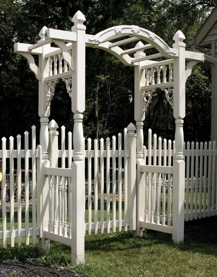 Arbor with white fence our tudor home pinterest for Fence with arbor