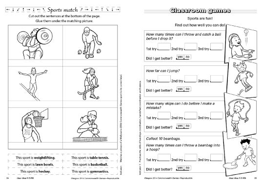 Glasgow 2014 Commonwealth Games free resource download from R.I.C. Publications. Sports match and classroom games.