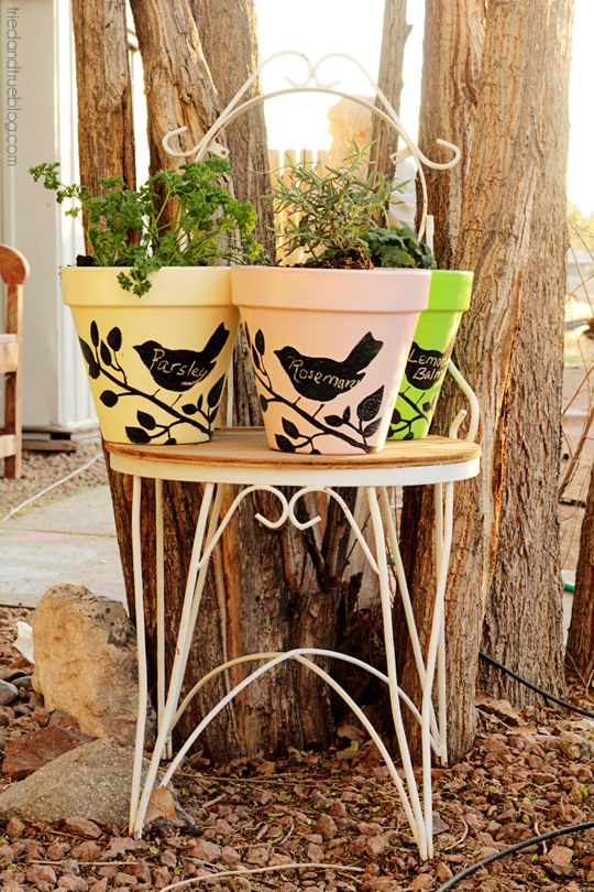 Chalkboard Planters with FolkArt Stencils and Paint   A Tried & True Project