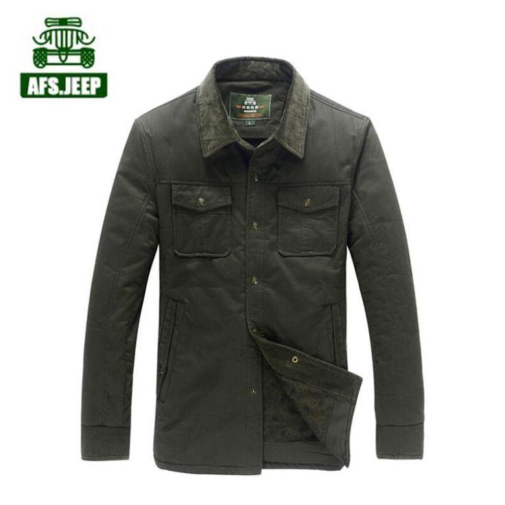 AFS JEEP Original Brand 2015 Autumn Thickness 100% Cotton Shirt Men,Mutil Pockets turn daown collar Warmly Loose Cargo Shirts