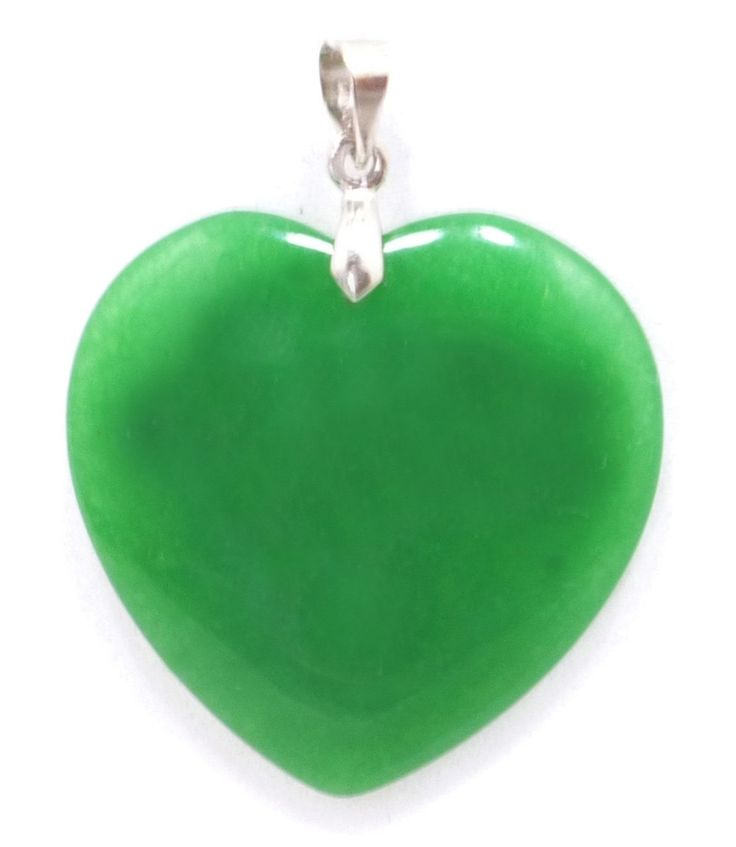 Heart Shaped Natural Jade Pendant - PD003 (Bottle Green):