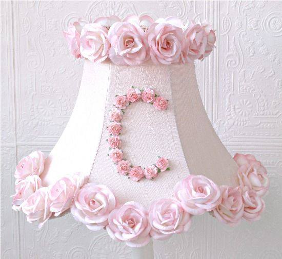Vintage Inspired Personalized Monogram Pink Lamp Shade With Roses-vintage, victorian, shabby, romance, lighting, chandelier, crystals, glass beads, crystal chains, sparkling, glamour, romantic home,