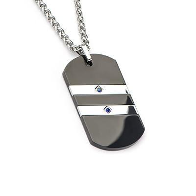 2 Stripe Black Steel Blue Sapphires Mens Dog Tag Necklace