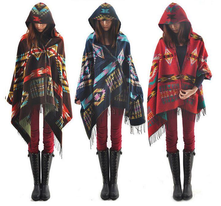 Women Bohemian Collar Plaid Cape Cloak Poncho Jacket Coat Shawl Scarf Cardigan