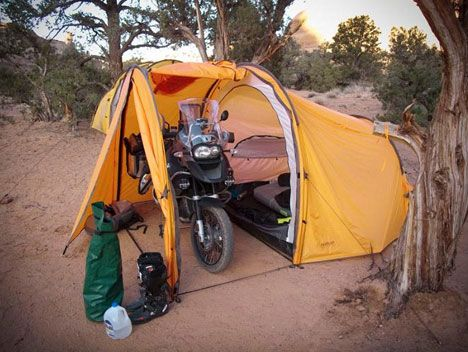 Take your motorcycle camping.  A sweet tent for people who like to adventure on two wheels ... maybe useful for Baja trips.