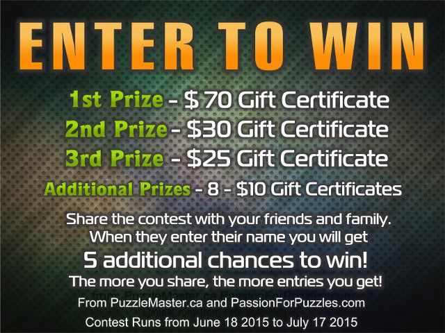 Win $205 in prizes when you enter your name and email at passionforpuzzles.com.  {URL}