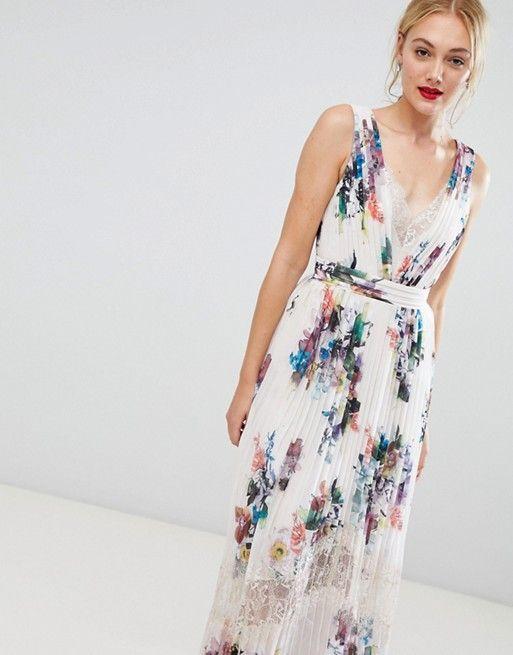 d7d12d6d45e38c Little Mistress Tall | Little Mistress Tall pleated maxi dress in floral  print in cream multi