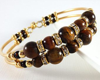 Memory Wire Bracelet - Tigers Eye Bracelet - Tube Bracelet - Good Luck Stone - Gemstone Bracelet - Beaded Memory Wire - Gold Bracelet