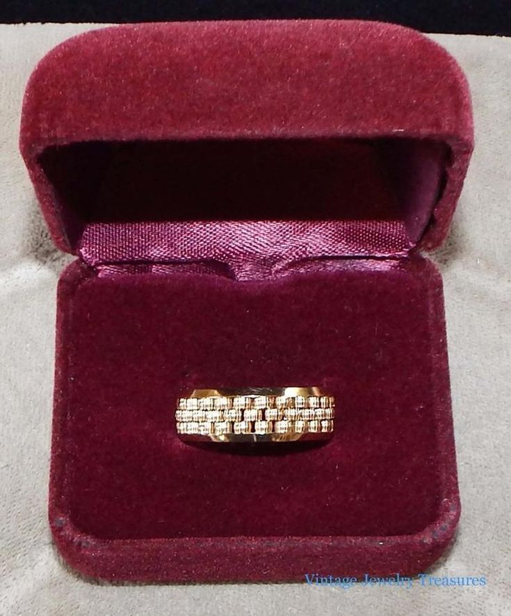 Vintage Estate 14K Yellow Gold Basket Weave Band Ring Size 9 Unique Heavy 8.9 GM #Band