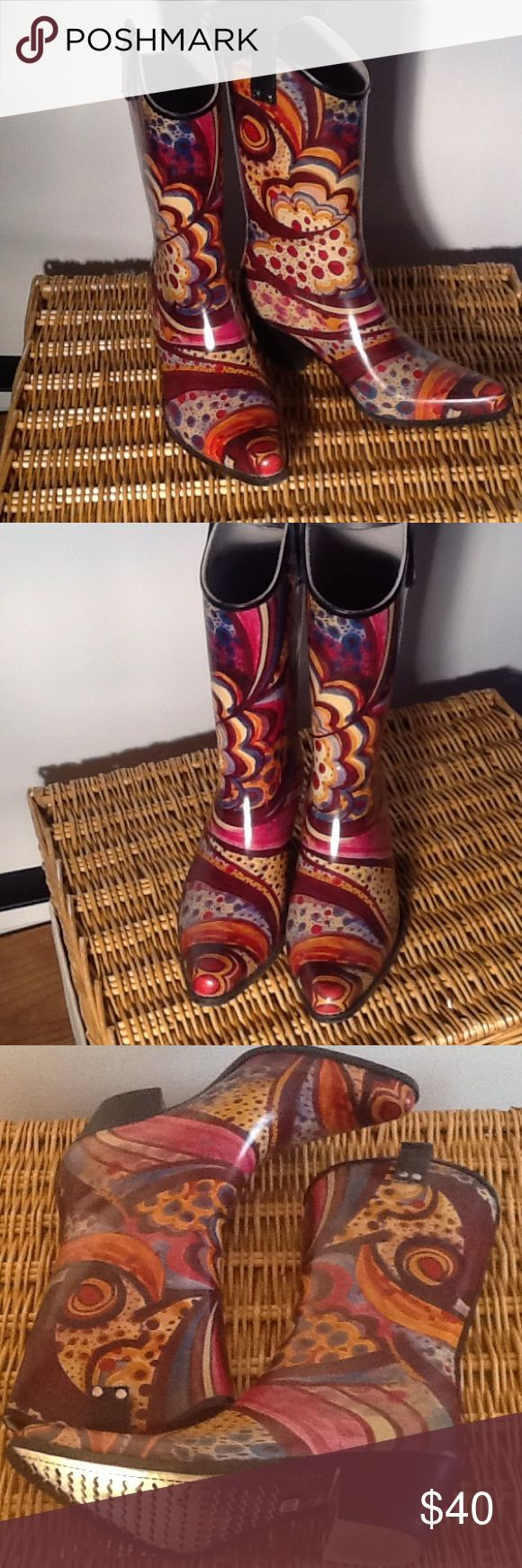 Nomad cowboy style rain boots New condition! Cowboy style rain boot. Made with durable rubber and a non-slip sole. Awesome, fun pattern! Nomad Shoes Winter & Rain Boots