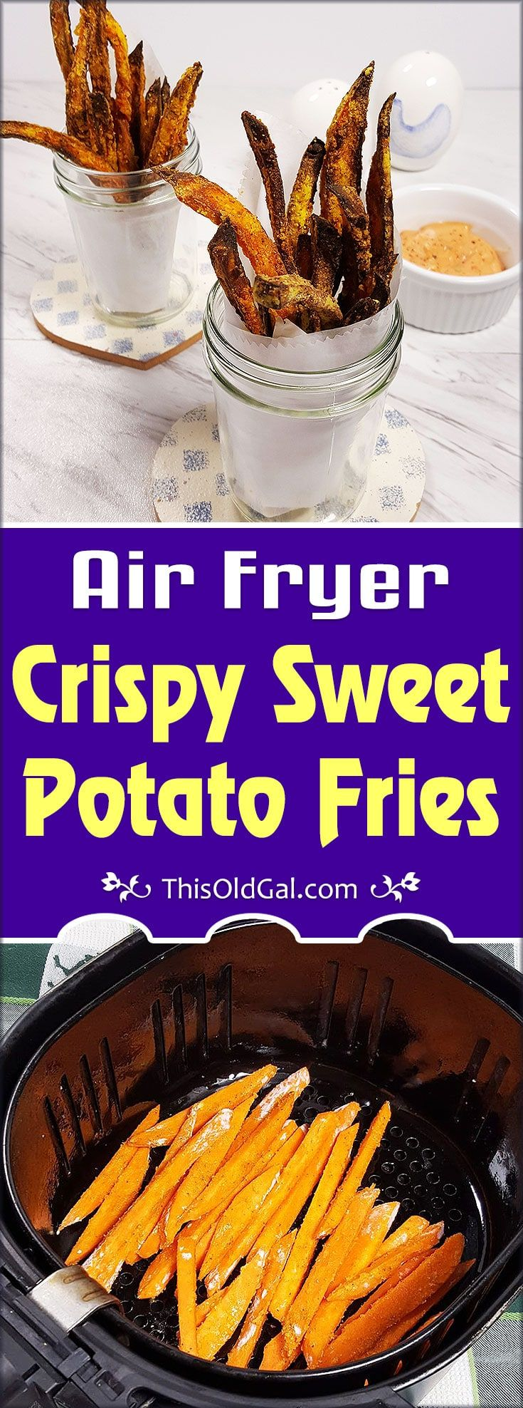 Air Fryer Crispy Sweet Potato Fries are a great addition to a low fat, heart healthy diet.  A sprinkle of Turmeric does a body good! via @thisoldgalcooks