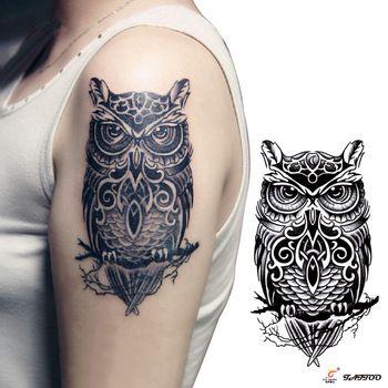 Временные татуировки большой черный сова рука поддельные передачи наклейки горячие сексуальные мужчины женщины спрей водонепроницаемый дизайн